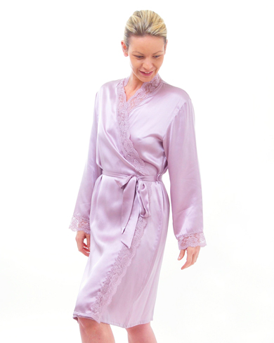 Lace Trimmed Short Silk Dressing Gown - Women - Nightwear - Dressing ...