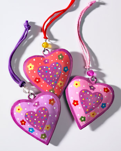 Hand Painted Hanging Heart Decoration