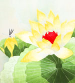 Silk Picture of a Yellow Lotus Flower