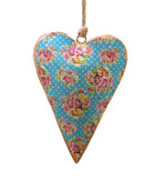 Vintage Floral Design Heart Decoration